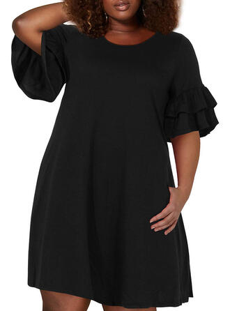 Plus Size Solid 1/2 Sleeves Flare Sleeve A-line Above Knee Casual Dress