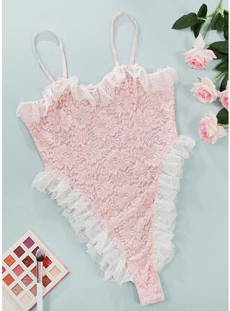 Polyester Lace Lace Embroidery Floral Patchwork Ruffles One Piece Alluring Teddy