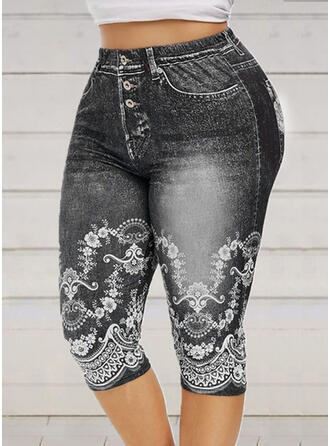 Patchwork Print Plus Size Capris Elegant Sexy Yoga Leggings
