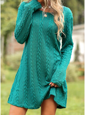 Solid Knit Long Sleeves Shift Above Knee Casual Dresses