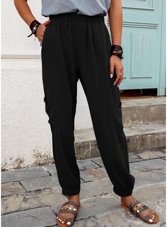 Solid Linen Cotton Long Casual Plus Size Pocket Shirred Pants