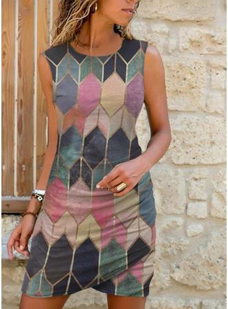 Print/Geometric Sleeveless Sheath Above Knee Casual Dresses
