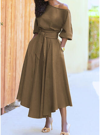 Solid 1/2 Sleeves A-line Skater Casual Maxi Dresses