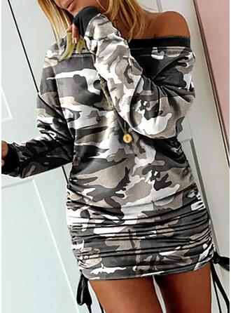 Print Long Sleeves Bodycon Above Knee Casual Sweatshirt Dresses
