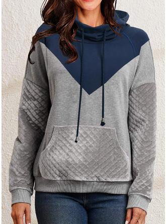 Color Block Knit High Neck Long Sleeves Sweatshirt