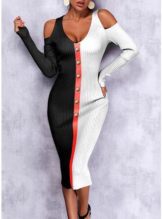 Color Block Knit Long Sleeves Cold Shoulder Sleeve Elegant Maxi Dresses