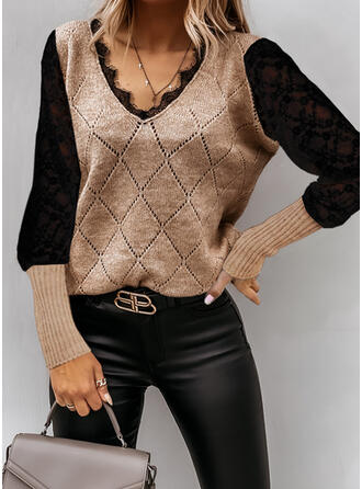 Patchwork Lace V-Neck Casual Sweaters