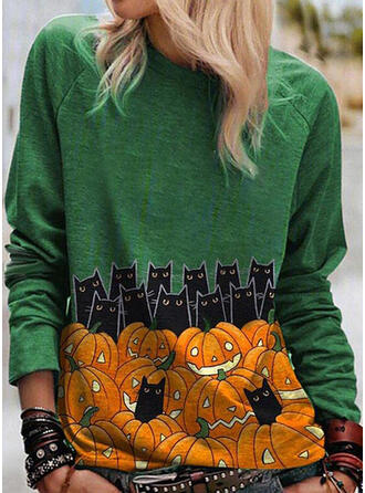 Animal Print Round Neck Long Sleeves Casual Halloween T-shirts