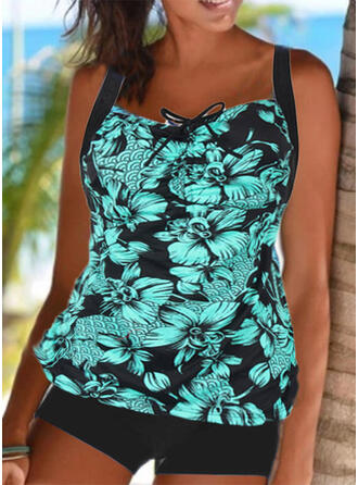 Floral Strap Sports Casual Tankinis Swimsuits