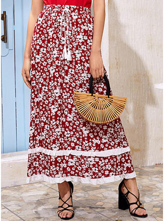 Rayon Print Floral Maxi A-Line Skirts