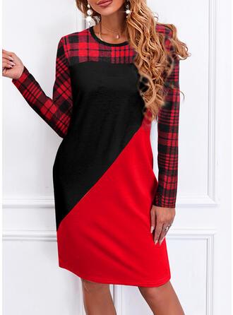Christmas Plaid Long Sleeves Hourglass Knee Length Casual Dresses