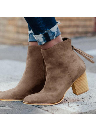 Women's Suede Chunky Heel Ankle Boots Martin Boots Pointed Toe With Zipper shoes