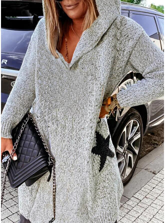 Print Heart Letter Hooded Casual Sweater Dress