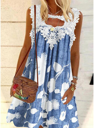 Lace/Print/Floral Sleeveless Shift Knee Length Casual Tunic Dresses