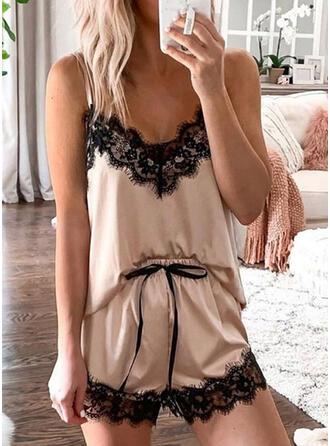 Polyester Deep V Sleeveless Plus Size Halter Sexy Eyelash Lace Cami Set