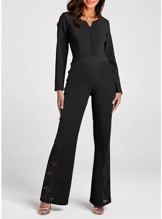 Solid V-Neck Long Sleeves Elegant Jumpsuit