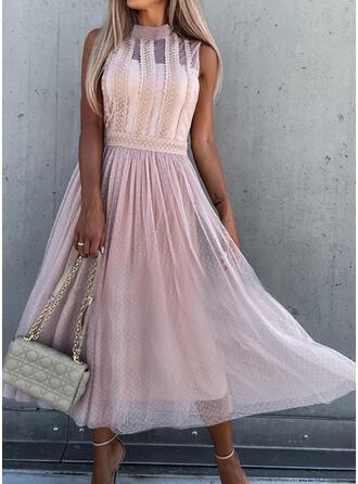 Solid Lace Sleeveless A-line Skater Elegant Midi Dresses