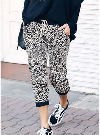 Leopard Drawstring Capris Casual Sporty Pants