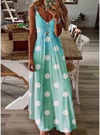Print/PolkaDot Sleeveless A-line Slip/Skater Casual Maxi Dresses