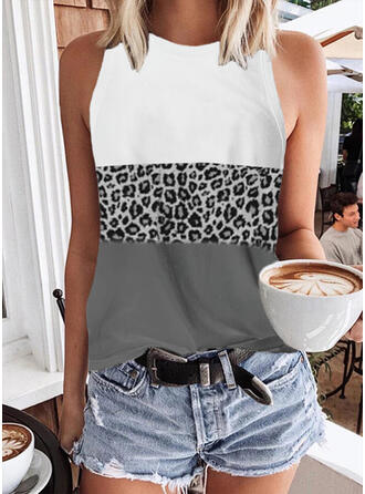 Color Block Leopard Round Neck Sleeveless Tank Tops