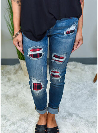 Patchwork Ripped Cropped Casual Sexy Denim & Jeans