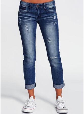 Pockets Shirred Long Long Solid Denim Pants