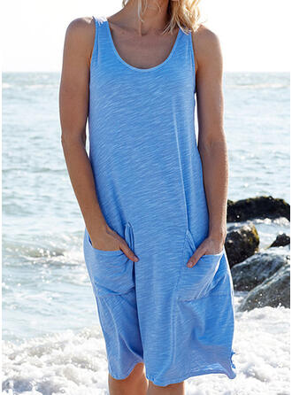 Solid Color Elastic Waist Round Neck Plus Size Cover-ups Swimsuits