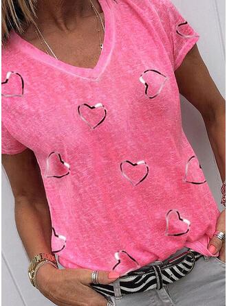 Valentine's Day Heart Print V-Neck Short Sleeves T-shirts
