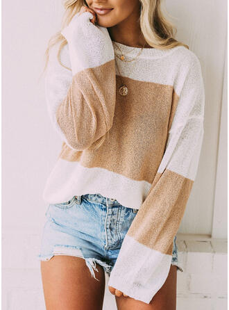 Geometric Round Neck Casual Knit Tops