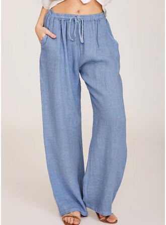 Pockets Shirred Plus Size Long Casual Long Pants