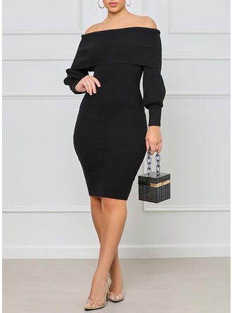 Solid Knit Long Sleeves Cocoon Knee Length Elegant Dresses