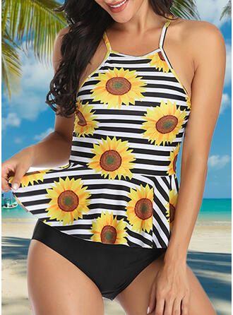 Floral Stripe Strap Elegant Fashionable Tankinis Swimsuits