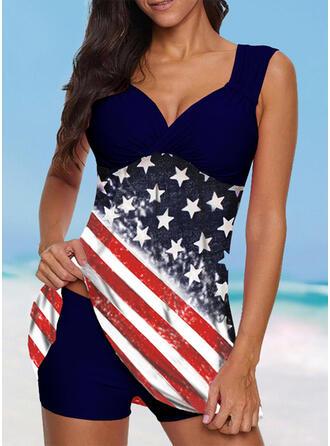 Flag Star Strap V-Neck Vintage Plus Size Swimdresses Swimsuits