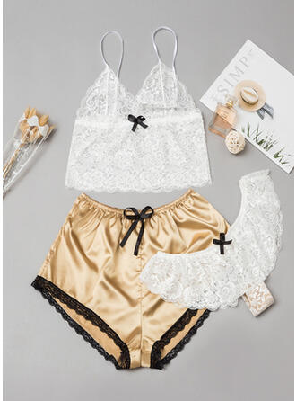 Spandex Lace Mesh Deep V Halter Sexy Alluring Cami Set