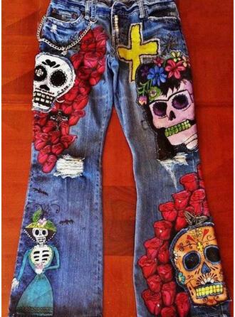 Color Block Plus Size Halloween Long Casual Tribal Denim & Jeans
