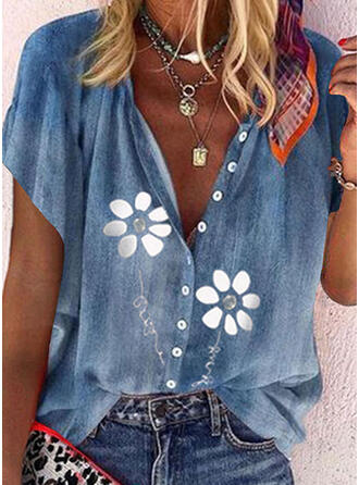 Print Floral Letter V-Neck Short Sleeves Casual Blouses