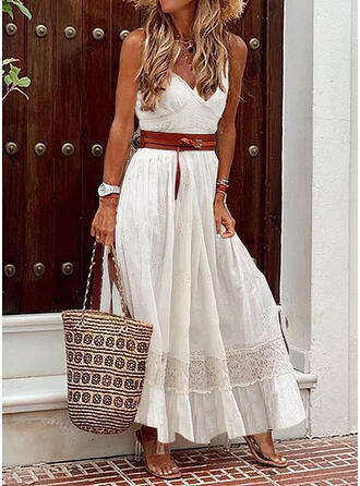 Lace/Solid Sleeveless A-line Slip Casual/Vacation Maxi Dresses