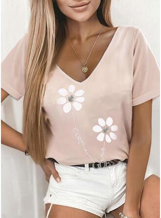 Floral Print Letter V-Neck Short Sleeves T-shirts