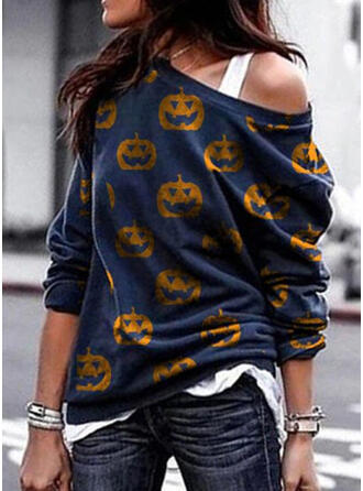 Halloween Print One Shoulder Long Sleeves Sweatshirt