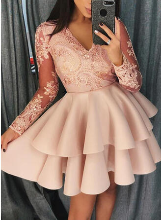 Lace/Solid Long Sleeves A-line Above Knee Party Skater Dresses