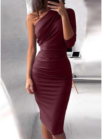 Solid 3/4 Sleeves Bodycon Knee Length Party Pencil Dresses
