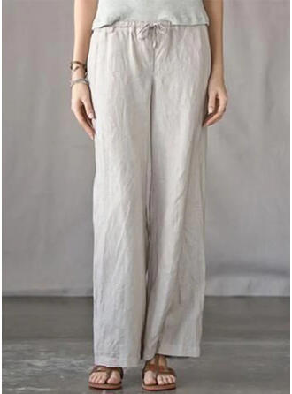 Pockets Shirred Plus Size Long Boho Casual Pants
