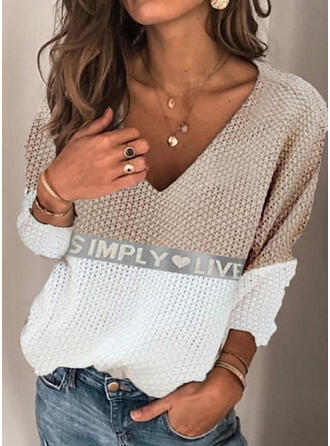Print Color Block Heart Letter V-Neck Casual Sweaters
