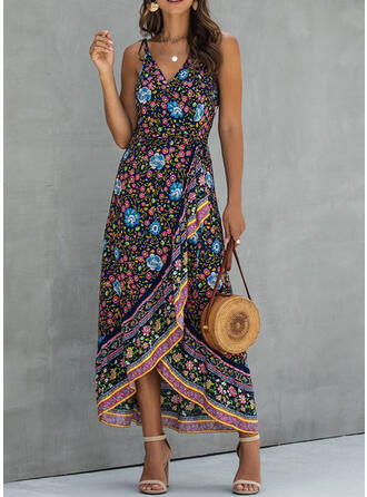 Print/Floral Sleeveless A-line Asymmetrical Casual/Boho/Vacation Dresses