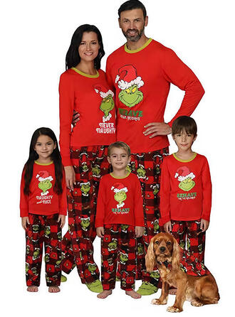 Letter Print Family Matching Christmas Pajamas