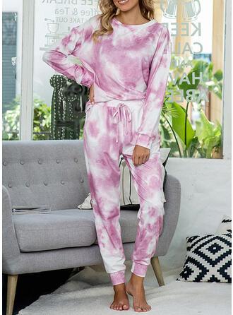 Polyester Print Plus Size Round Neck Long Sleeves Alluring Pyjama Set
