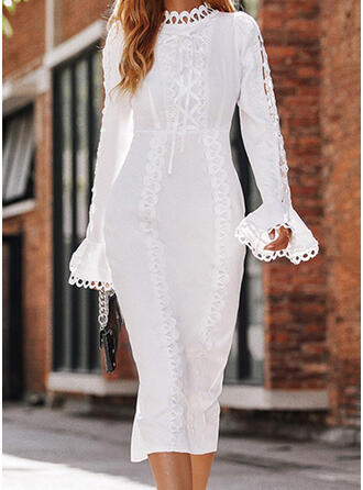 Solid Lace Long Sleeves Flare Sleeve Bodycon Pencil Elegant Midi Dresses