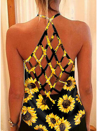 Backless Sunflower Print Round Neck Sleeveless Tank Tops