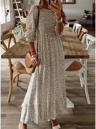 Print Long Sleeves A-line Skater Casual Maxi Dresses