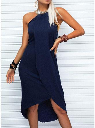 Solid Sleeveless Asymmetrical Casual Skater Dresses